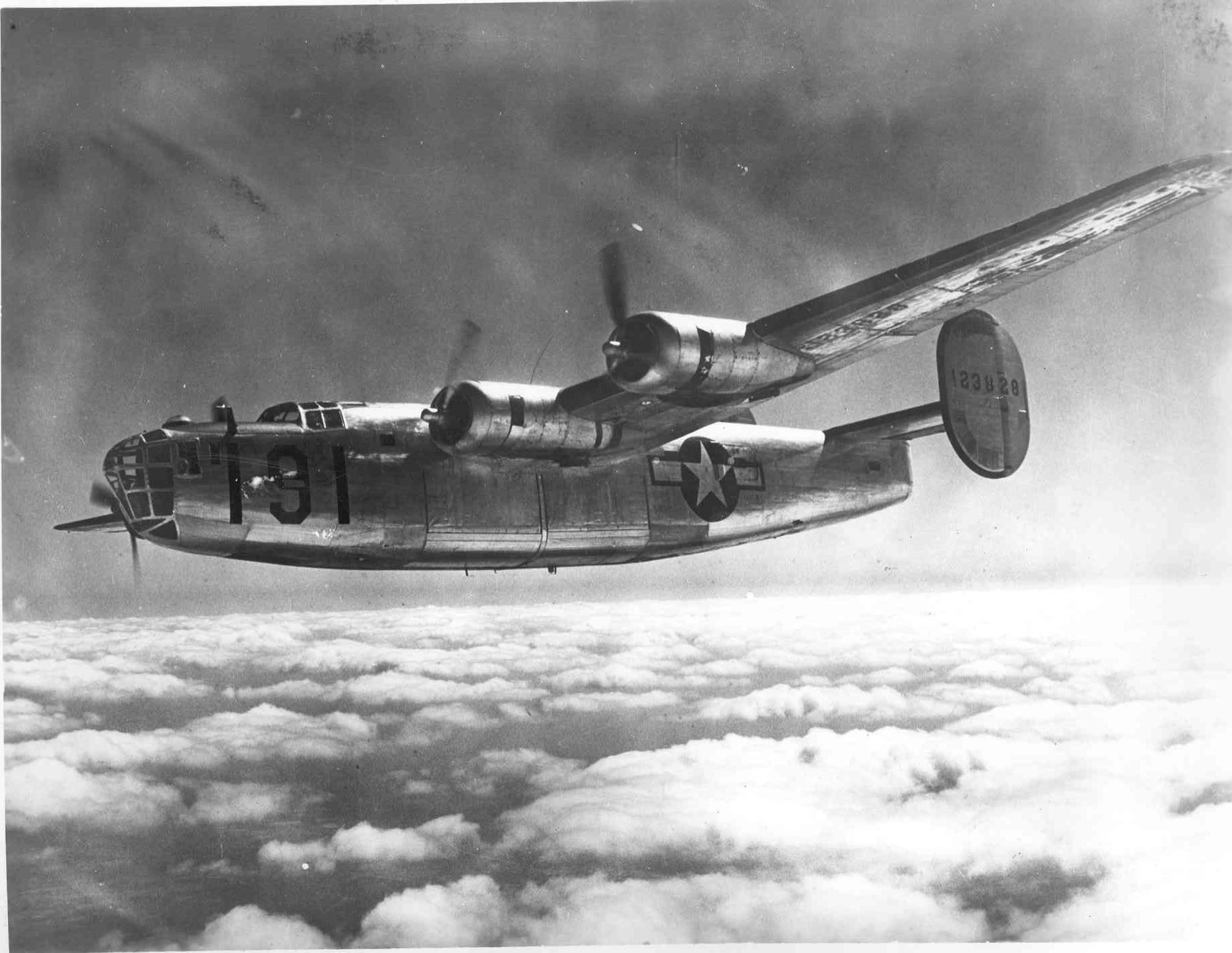a B-24 Liberator in flight  B24 Liberator