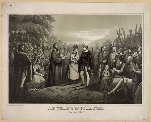 A 19th century print of the wedding of Pocahontas to John Rolfe