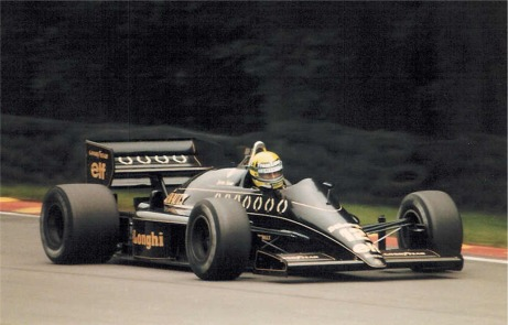 An image of Ayrton Senna in a Lotus 98T, 1986 British Grandprix