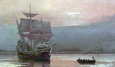 "An image of ""Mayflower in Plymouth Harbor"" by William Halsall, 1882 at Pilgrim Hall Museum, Plymouth, Massachusetts, USA"