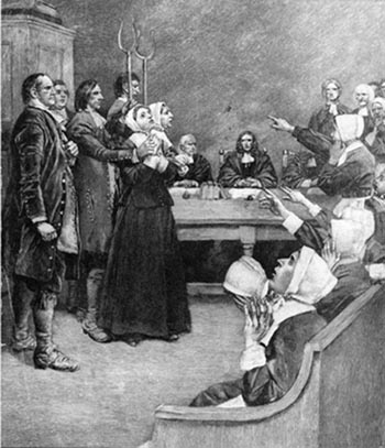 An engraving of the trial of two alleged witches in Salem, Massachusetts